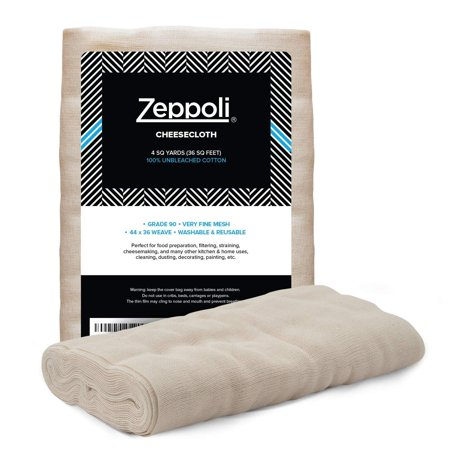 "Zeppoli Unbleached Grade 90 Cheesecloth - 100% Fine Cotton Reusable Fabric | Use as Nut Milk Bag, Strainer & Filter For Cooking 44"" × 36"" (4 Yards) - Black Cheesecloth"