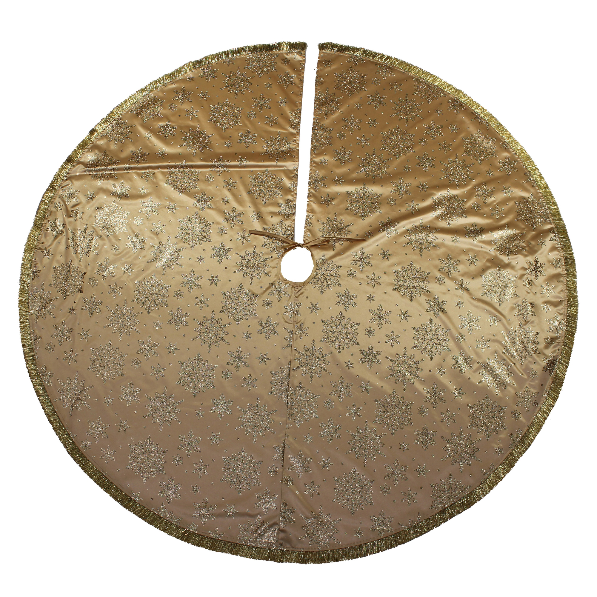 Holiday Time Gold Glitter Snowflake Tree Skirt