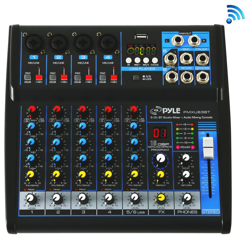 Pyle PMXU63BT - 6-Ch. Bluetooth Studio Mixer - DJ Controller Audio Mixing Console System