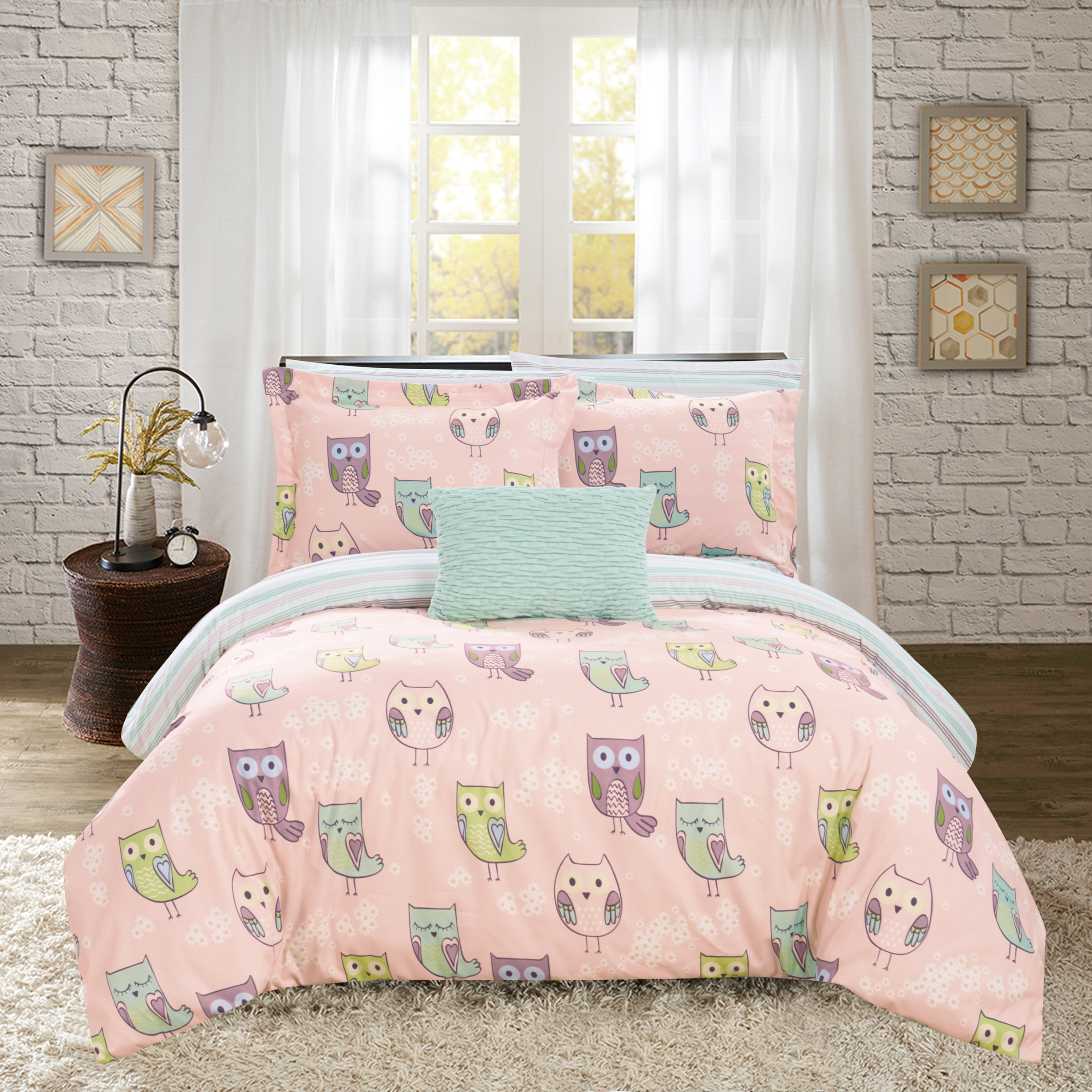 Chic Home Horned 6 Piece Reversible Comforter Set It's A Hoot Owl Friends