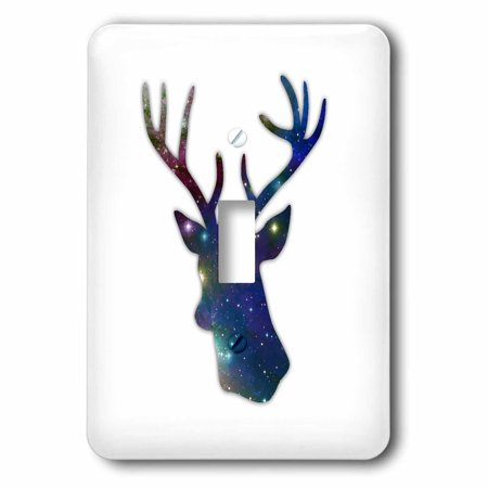 3dRose Deer stag head silhouette of dark blue outer space stars galaxy