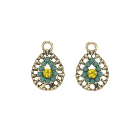 Zola Elements Charm, El Sol Filigree Teardrop 11x17mm, 2 Pieces, Antiqued Gold