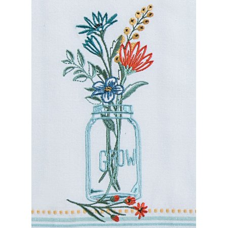 Blooming Thoughts Grow Wild Flowers Embroidered Tea Towel Cotton
