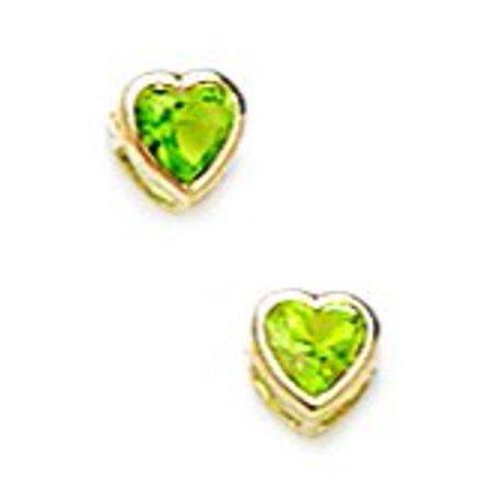 14k Yellow Gold August Green 3x3mm CZ Heart Screw-Back Earrings - Measures 4x4mm