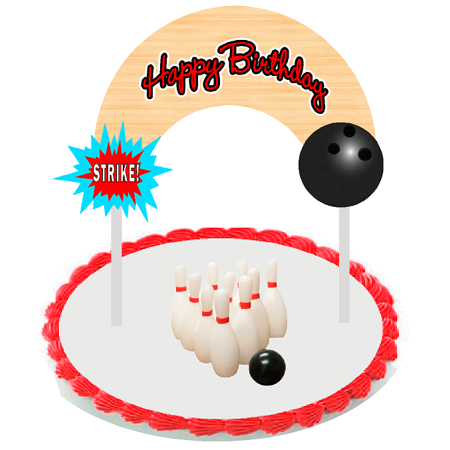 Bowling Cake Decoration Topper Banner with Bowling - Bowling Cake Toppers