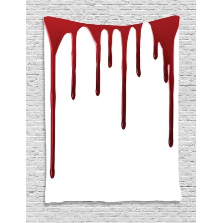 Horror Tapestry, Flowing Blood Horror Spooky Halloween Zombie Crime Scary Help me Themed Illustration, Wall Hanging for Bedroom Living Room Dorm Decor, Red White, by - Scary Halloween Themes