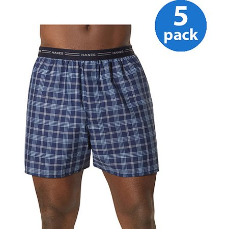 Comfort Boxer Shorts - Hanes Men's Comfort Flex Exposed Waistband Blue Plaid Boxer, 5-pack