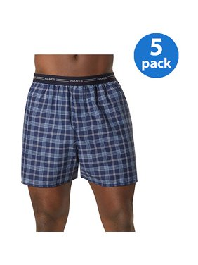 d8ac4edda094 Product Image Men's Comfort Flex Exposed Waistband Blue Plaid Boxer 5-Pack