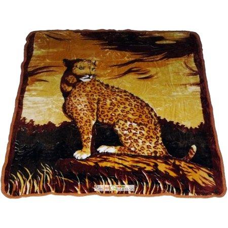 79x94 Safari Africa Panthera Pardus Leopard Soft Faux Mink Plush Queen Blanket ()