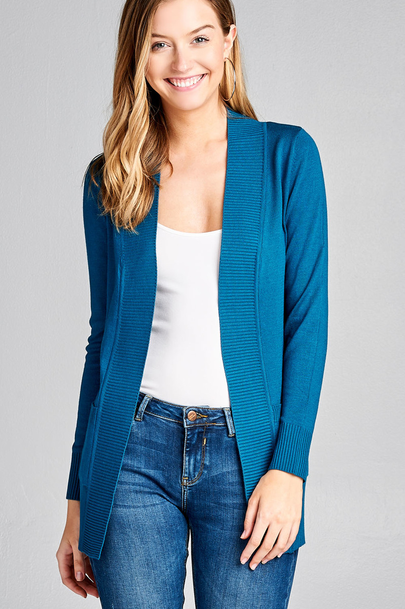 Women's Cardigan Long Sleeve Open Front Draped Sweater Rib Banded w/ Pockets in Several Colors