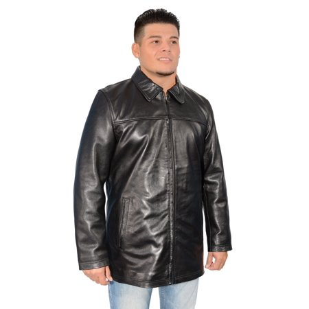 Mens Classic James Dean Style Black Leather Zipper Front - James Coat