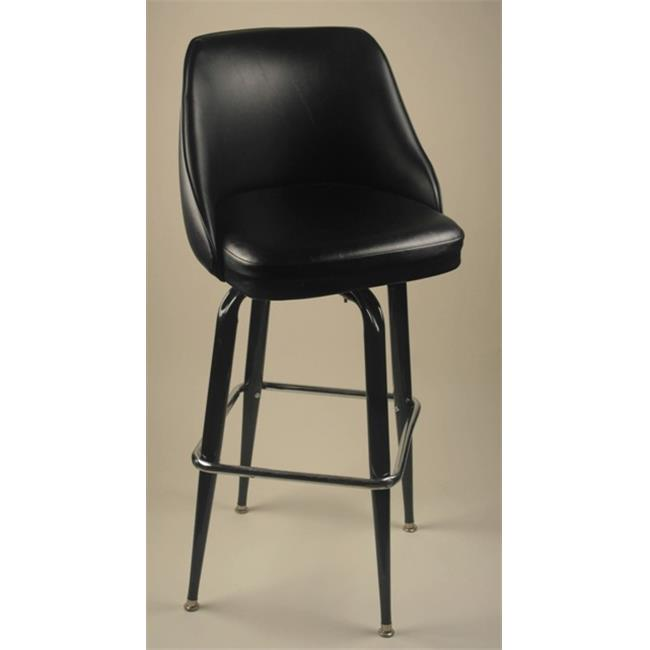 Alston Quality 4210-30-BLK Padded Back Double Ring Bar Stool Black