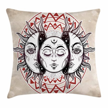 Moon Throw Pillow Cushion Cover, Oriental Eastern Culture Elements with Abstract Style Heavenly Bodies Tattoo Style, Decorative Square Accent Pillow Case, 18 X 18 Inches, Tan Black Ruby, by Ambesonne](Halloween Tattoos Oriental Trading)