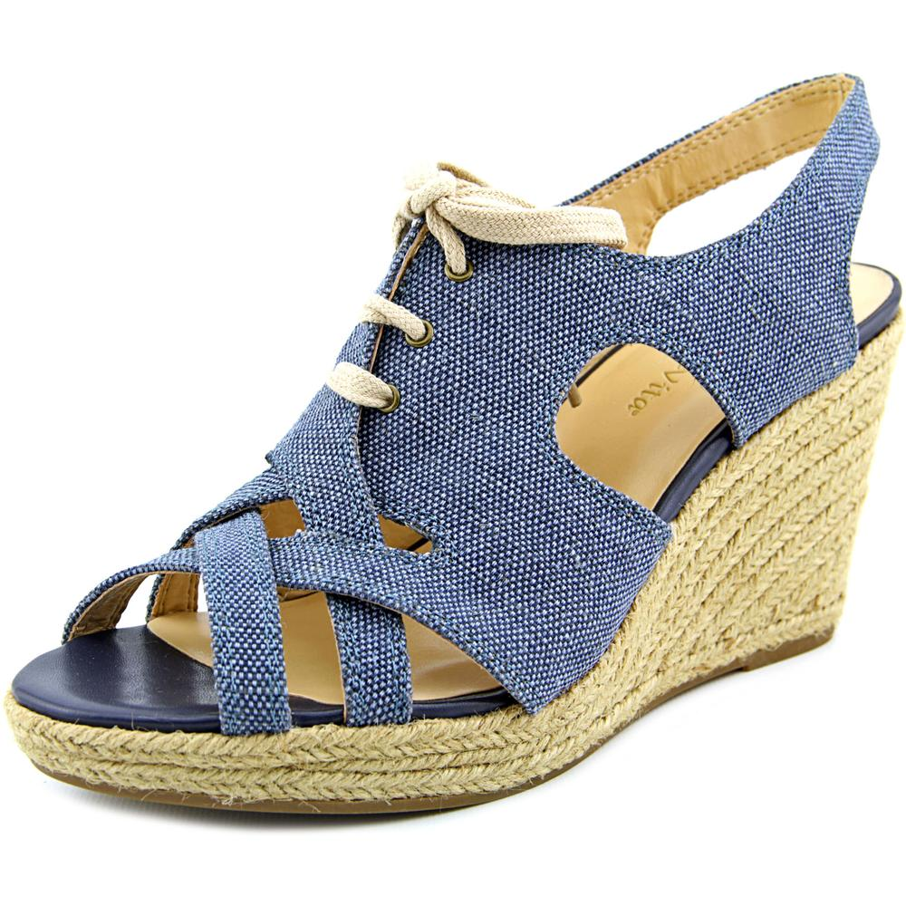 Click here to buy Bella Vita Gracia Women WW Open Toe Canvas Blue Wedge Sandal by Bella Vita.