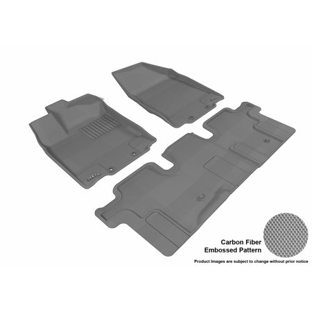 3D MAXpider 2013-2017 Nissan Pathfinder Front & Second Row Set All Weather Floor Liners in Gray with Carbon Fiber Look Cab Grey Front Floor Liners