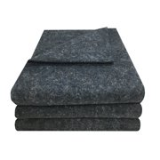 """uBoxes 3 Pack Grey Textile Moving Blankets 54"""" x 72"""" Pad"""