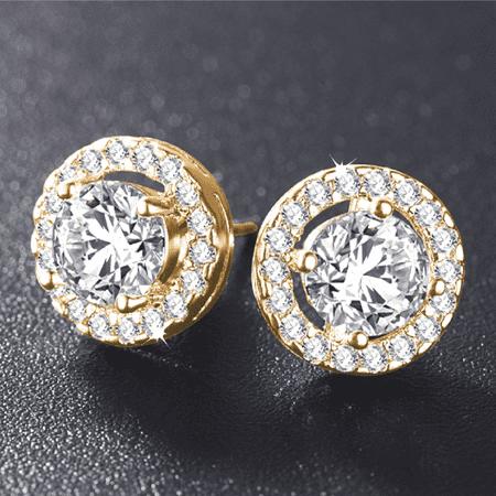 Enchanted Halo Crystal Stud Earrings 18K Yellow Gold