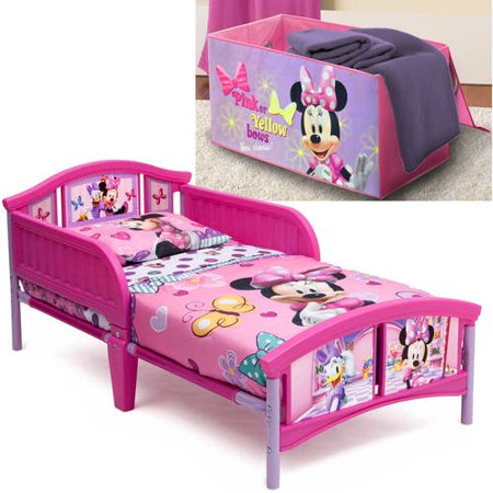 disney minnie mouse toddler bed with bonus collapsible toy box. Black Bedroom Furniture Sets. Home Design Ideas