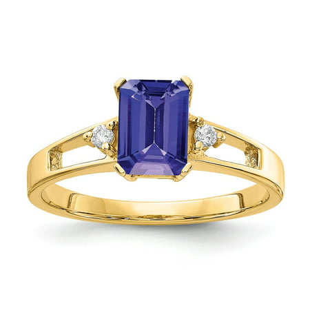 Solid 14k Yellow Gold 7x5mm Emerald Cut Tanzanite Blue December Gemstone Diamond Engagement Ring Size 8 (.04 cttw.)