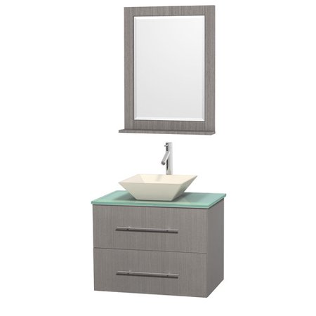 Wyndham Collection Centra 30 inch Single Bathroom Vanity in Gray Oak, Green Glass Countertop, Pyra Bone Porcelain Sink, and 24 inch Mirror