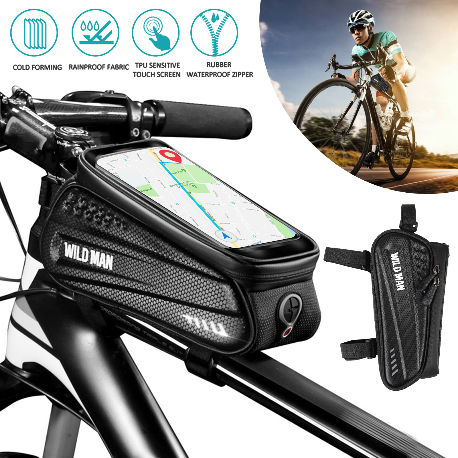 Details about  /Bike Bicycle Frame Front Tube Waterproof Pouch Bag Mobile Phone Storage Bag
