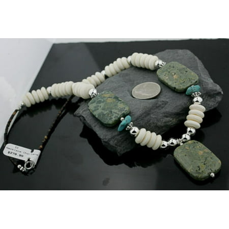 Jasper Disc - Certified Authentic Navajo .925 Sterling Silver Natural Turquoise Jasper Agate Disk Native American Necklace