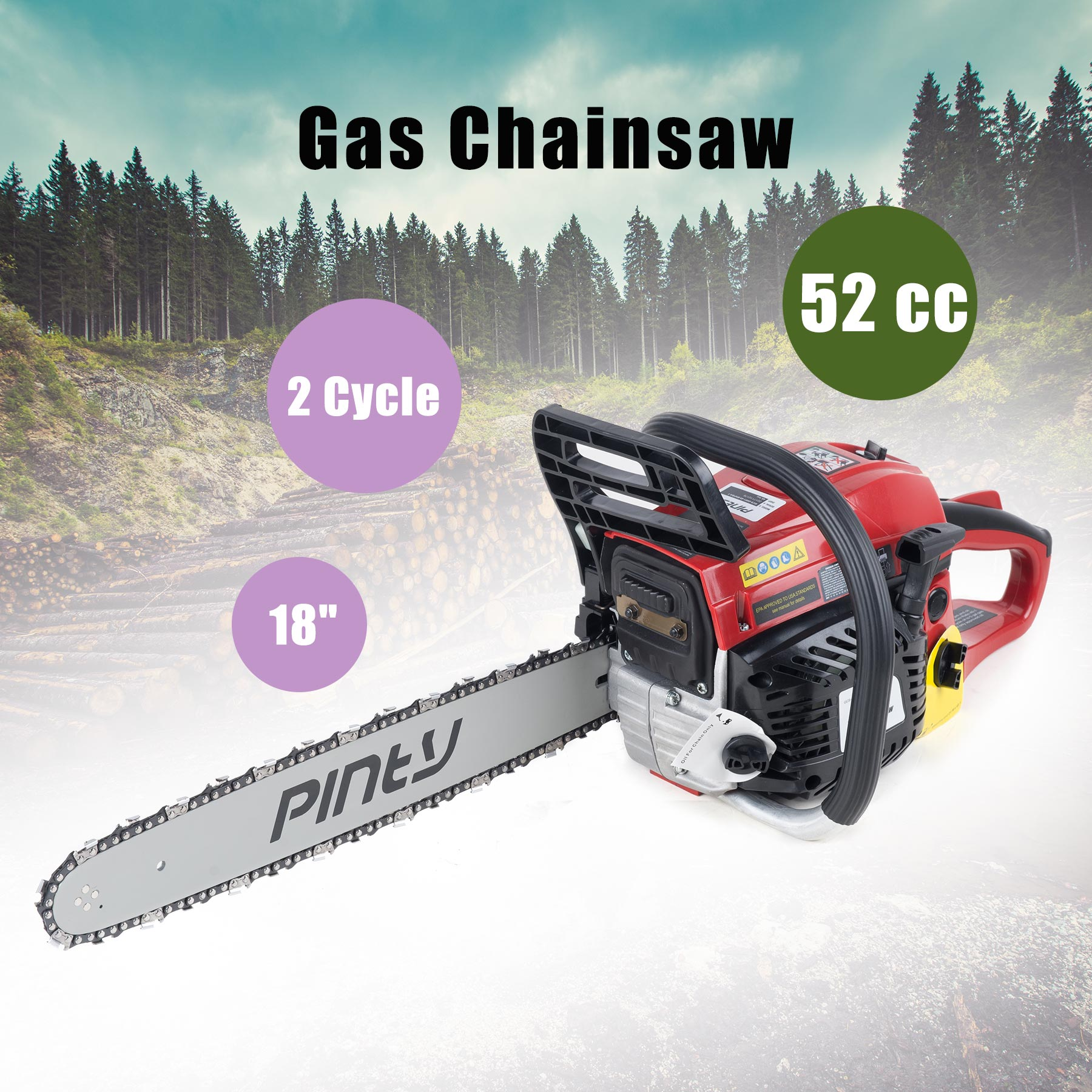 """Click here to buy EPA Approved 18"""" 45.1 cc Gasoline Chainsaw Machine Cutting Wood Gas Chain Saw."""
