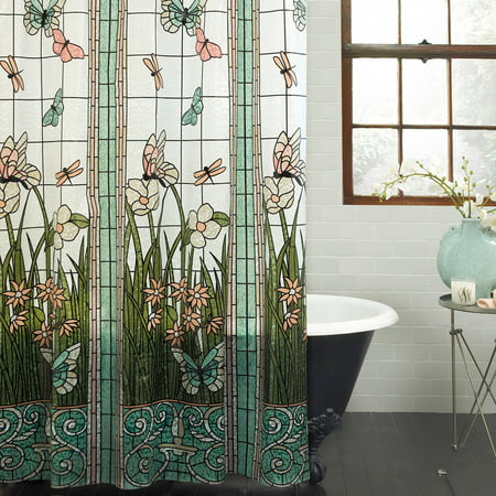 Mainstays Stained Glass Meadow PEVA Shower Curtain