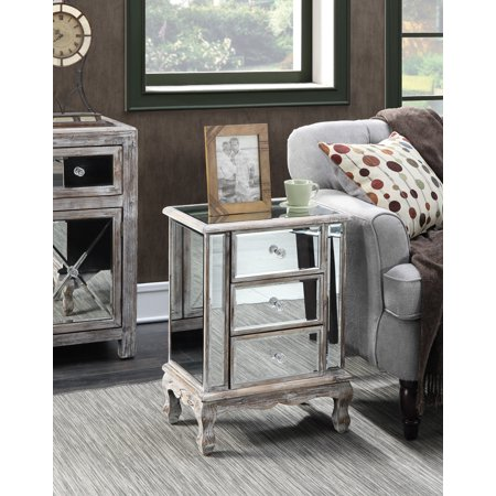 Mirror Cube Table - Convenience Concepts Gold Coast Vineyard 3-Drawer Mirrored End Table