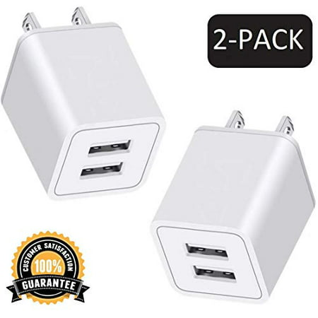 USB Wall Charger, 10W 2-Pack 2.4A/5V USB Plug Dual Port Power Adapter Charging Block Charger Cube Compatible with iPhone X/8/7/6/6S Plus, X Xs Max XR, iPad, Samsung, Android, and More