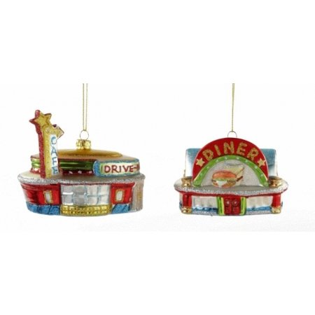 Retro Look Roadside Drive In Cafe Diner Christmas Holiday Ornaments Set of - Retro Diner Supplies