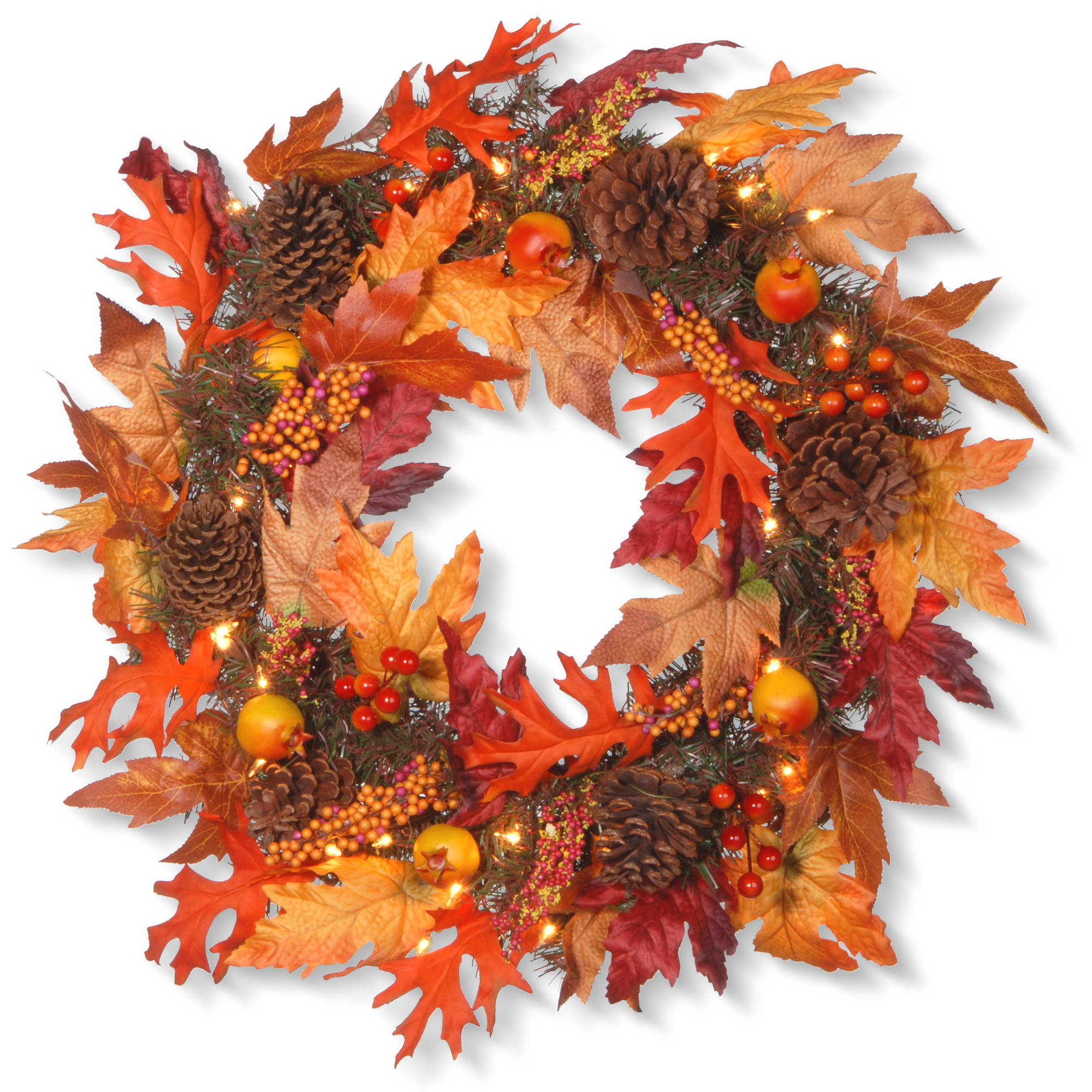 "24"" Maple Wreath with Clear Lights"