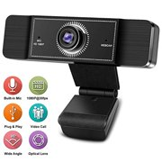 Webcam with Microphone, 1080P HD Webcam Streaming Computer Web Camera with 95-Degree Wide View Angle, USB Plug and Play Webcam for PC Desktop or Laptop Video Calling Recording Conferencing