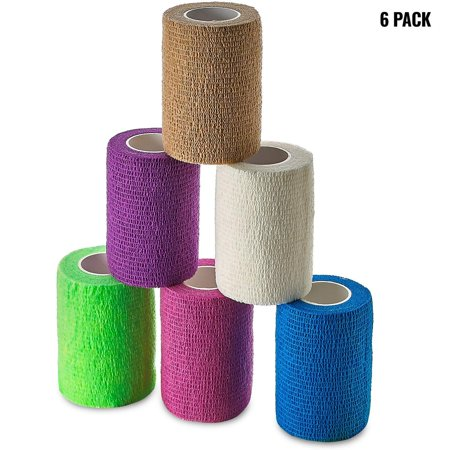Self Adherent Wrap - Bulk Pack of 6, Athletic Tape Rolls and Sports Wraps, Self Cohesive Non-Woven Bandage (3 In x 5 Yards) FDA Approved for Ankle Sprains & Swelling