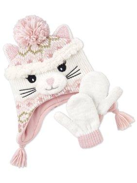 The Children's Place Toddler Girl Cat Beanie Mitten Set