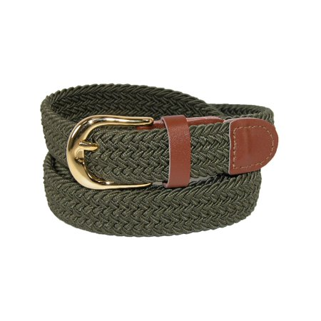Size Small Womens Elastic Braided Stretch Belt, Olive ()