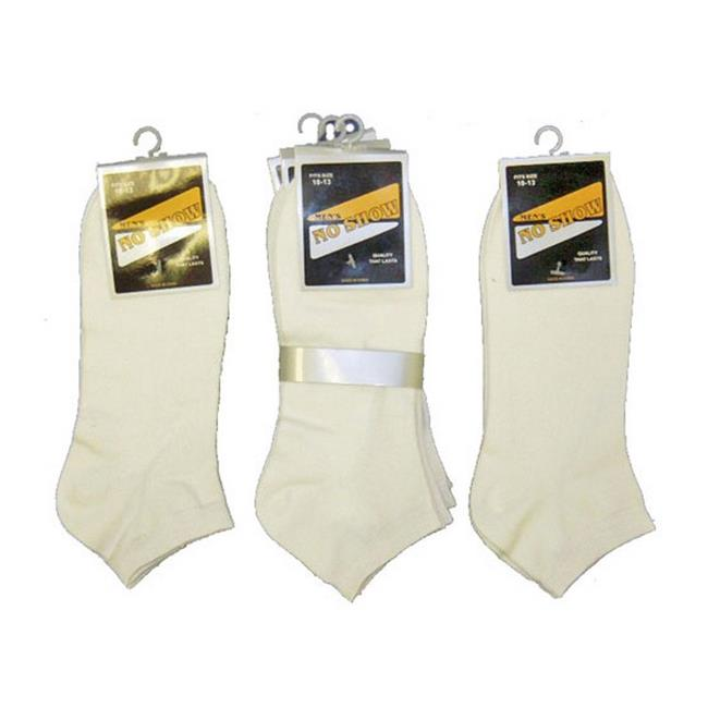 YDB 10 to 13 Mens No Show Socks, White - Case of 60