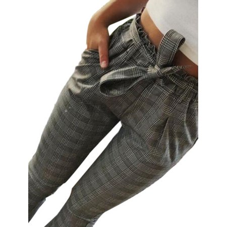Womens Lace Up High Waist Paperbag Cigaratte Striped Trousers Ladies Pants ()