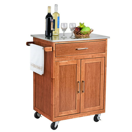 Costway Wood Kitchen Trolley Cart Stainless Steel Top Rolling Storage Cabinet (Stainless Steel Island Tops)