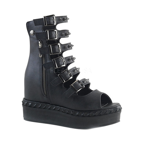Women's Demonia Venom 110 Open-Toe Buckle Bootie by PleaserUSA