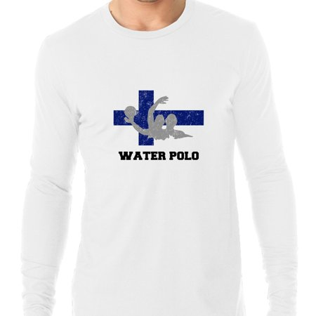 Finland Olympic - Water Polo - Flag - Silhouette Men's Long Sleeve T-Shirt