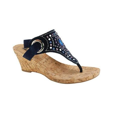 Blue Sandals - White Mountain Adeline Women  Open Toe Canvas Blue Wedge Sandal