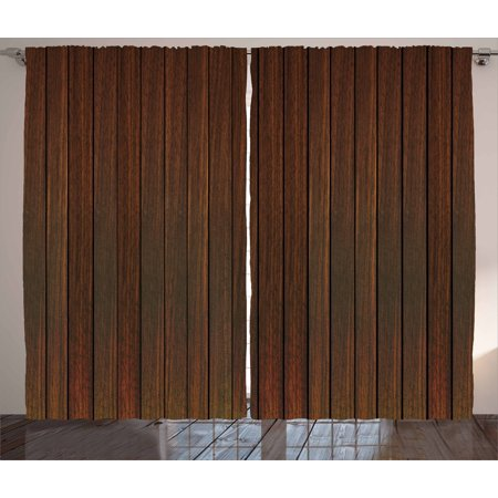 Chocolate Curtains 2 Panels Set, Wooden Stripes Floor Background in Carpentry Themed Illustration Retro Hardwood Image, Window Drapes for Living Room Bedroom, 108W X 96L Inches, Brown, by Ambesonne