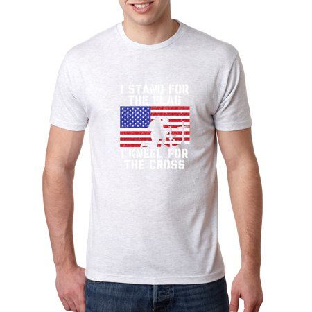 I Stand for The Flag I Kneel For the Cross | Mens Americana / American Pride Premium Tri Blend T-Shirt, Heather White, Large Blend Mens T-shirt