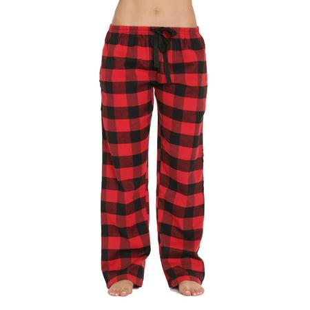 #followme Flannel Pajama Pants for Women Sleepwear PJs (Red - Buffalo Plaid, X-Small)