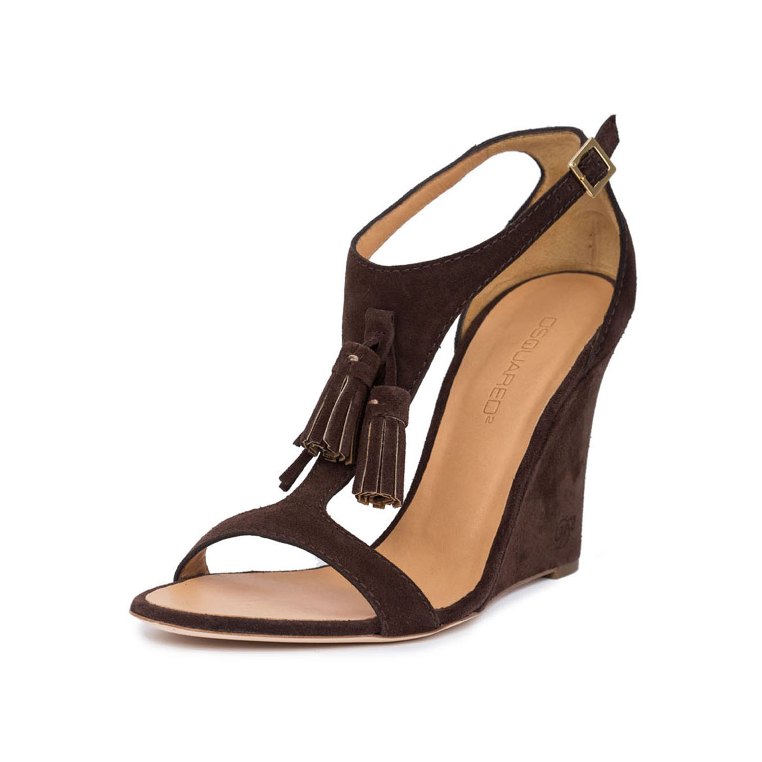 Dsquared2 Women Brown Suede Tassel T-Strap Slim Wedge High Heels Sandals Shoes US 9 EU 39
