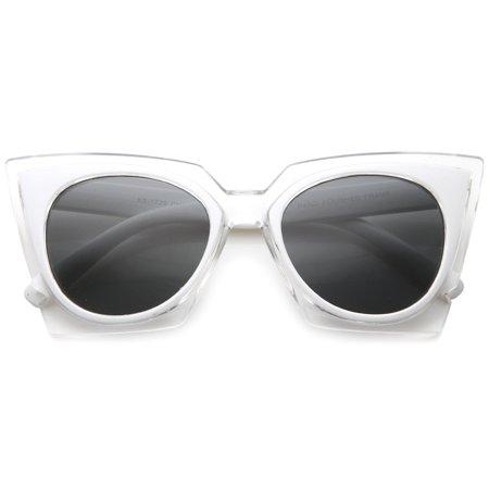 432cf5f0b2 sunglassLA - sunglassLA - Women s Fashion Two-Tone Crystal Clear Edged Cat  Eye Sunglasses - 51mm - Walmart.com