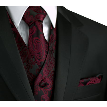 - Italian Design, Men's Formal Tuxedo Vest, Tie & Hankie Set for Prom, Wedding, Cruise in Berry Paisley