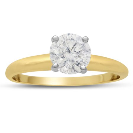 1 Carat Diamond Solitaire Engagement Ring In 14K Yellow Gold (H-I SI2 Clarity Enhanced) Size 8.5