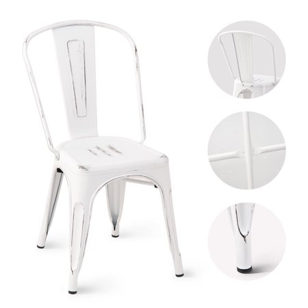 Costway Set of 4 Distressed Style Dining Side Chair Stackable Bistro Cafe Metal White - image 1 de 10